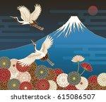 fuji mountain  cranes and... | Shutterstock .eps vector #615086507