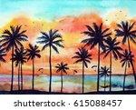 watercolor tropical landscape... | Shutterstock . vector #615088457