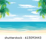 sunny sandy beach during the... | Shutterstock .eps vector #615093443