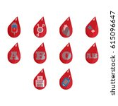 blood drive vector icon set ... | Shutterstock .eps vector #615096647