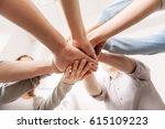 close up of coworkers hands...   Shutterstock . vector #615109223