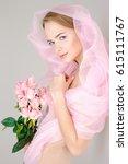 beautiful gentle girl in a... | Shutterstock . vector #615111767