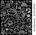 white cooking hand drawn icon... | Shutterstock .eps vector #615113933