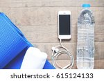 flat lay of mobile phone with... | Shutterstock . vector #615124133