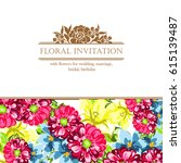 vintage delicate invitation... | Shutterstock .eps vector #615139487