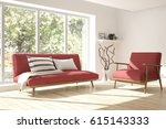 white room with sofa and green... | Shutterstock . vector #615143333