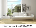 white room with sofa and green... | Shutterstock . vector #615143573