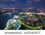 Aerial Night View Of Singapore...