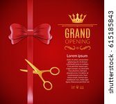 grand opening red ribbon and... | Shutterstock .eps vector #615185843