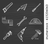 a set of nine building icons... | Shutterstock .eps vector #615206063