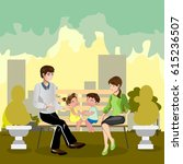 family sitting in a park | Shutterstock .eps vector #615236507