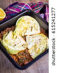 baked cabbage with vegetables ...   Shutterstock . vector #615241277