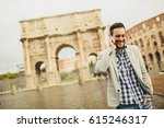 young man with mobile phone on...   Shutterstock . vector #615246317