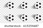 set of soccer balls. football... | Shutterstock .eps vector #615254687