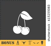 cherry icon flat. simple vector ... | Shutterstock .eps vector #615255083