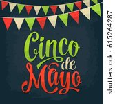 cinco de mayo lettering and... | Shutterstock .eps vector #615264287