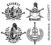 set of the emblems with knights ... | Shutterstock .eps vector #615264977