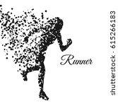 runner woman particles distiort ... | Shutterstock .eps vector #615266183