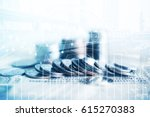 double exposure of coins and... | Shutterstock . vector #615270383