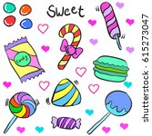 candy theme doodle style... | Shutterstock .eps vector #615273047