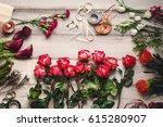 carnations  red roses  white... | Shutterstock . vector #615280907