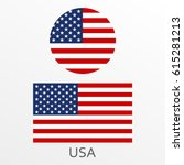 usa flag set. american national ... | Shutterstock .eps vector #615281213