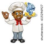 a black cartoon chef character... | Shutterstock .eps vector #615296927