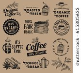 set of vintage coffee labels ... | Shutterstock .eps vector #615305633