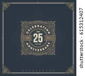 vintage anniversary logo emblem ... | Shutterstock .eps vector #615312407