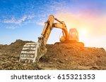excavator in construction site...   Shutterstock . vector #615321353