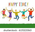 cheerful kids jumping and... | Shutterstock .eps vector #615323363