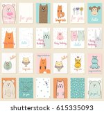 collection of cute artistic... | Shutterstock .eps vector #615335093