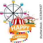 funfair and carnival background  | Shutterstock . vector #615369437