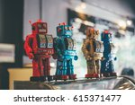 old classic tin toy robots | Shutterstock . vector #615371477