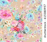 beautiful floral seamless... | Shutterstock . vector #615380957