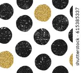 black textured dots and gold... | Shutterstock .eps vector #615385337