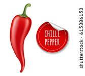 hot chilli pepper  | Shutterstock . vector #615386153