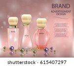 glamorous perfume glass bottle... | Shutterstock .eps vector #615407297