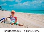 cute little girl on tropical... | Shutterstock . vector #615408197