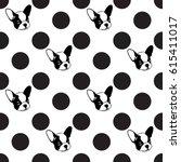 french bulldog dog and polka... | Shutterstock .eps vector #615411017