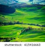 tuscany  spring landscape ... | Shutterstock . vector #615416663