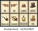 set signboard. pointing finger. ... | Shutterstock .eps vector #615419837