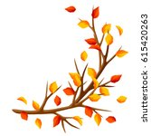 autumn branch of tree and... | Shutterstock .eps vector #615420263