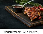 spicy rack of spare ribs with... | Shutterstock . vector #615440897