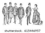 lady and gentlemen. vintage... | Shutterstock .eps vector #615446957