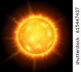 sun with rays and glow.... | Shutterstock .eps vector #615447437