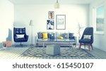 3d rendering of a scandinavian... | Shutterstock . vector #615450107