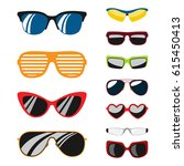 fashion set sunglasses... | Shutterstock .eps vector #615450413