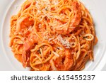 delicious pasta spaghetti with...   Shutterstock . vector #615455237