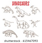 set of dinosaurs and lizards of ... | Shutterstock .eps vector #615467093
